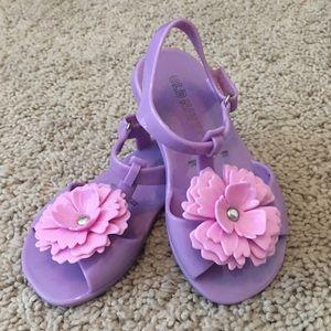 Lavender t-strap sandals